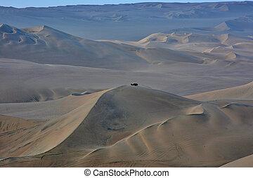 dunes, ica, peru., sable, voiture, région, huacachina