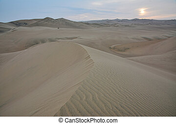 dunes, ica, région, sable, coucher soleil, huacachina, peru.