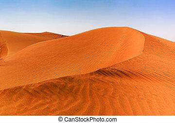 dunes, sable, arabe, désert, rouges