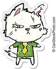 dur, chemise, affligé, autocollant, chat, cravate, dessin animé