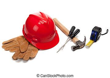 dur, cuir, chapeau, gants travail, blanc, outils, rouges