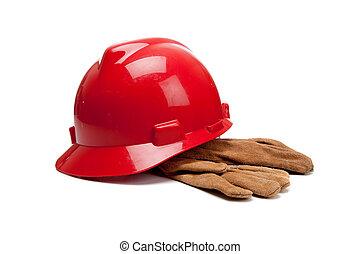 dur, cuir, gants travail, chapeau blanc, rouges