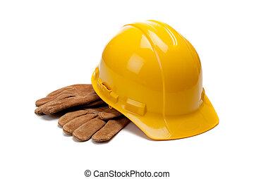 dur, cuir, travail, jaune, gants, chapeau blanc
