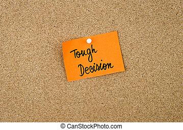 dur, décision, note, écrit, papier, orange