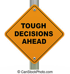 dur, décisions, devant, panneaux signalisations