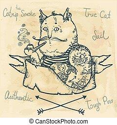 dur, -, illustration, chat, dessiné, main
