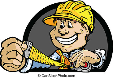 dur, illustration, vecteur, mètre à ruban, professionnel, chapeau, homme pratique