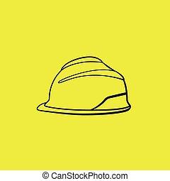 dur, jaune, vecteur, sécurité, fond, chapeau