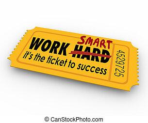 dur, reussite, travail, résultats, pas, billet, effort, intelligent