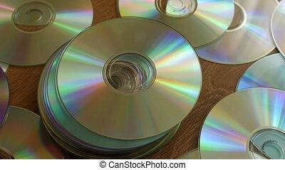 dvds, disques, tas, cds., tomber, sur, ou, optique