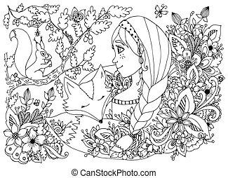 dwellers., girl, figure, flowers., enfant, doodle., anti, forêt, écureuil, white., taches rousseur, livre, vecteur, dormir, illustration, zentangl, noir, adults., coloration, dessin animé, regarder, tension
