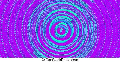 dynamique, illustration, structure, particle., dots., radial, 3d, circulaire, réseau, grille, résumé, surface., fond, technology., science, ou