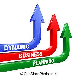 dynamique, planification, flèches, business, 3d