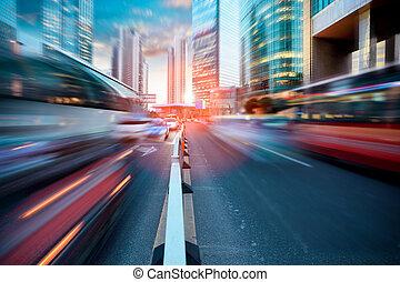 dynamique, rue, moderne, ville