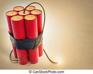dynamite, fusible, brûlé, explosifs