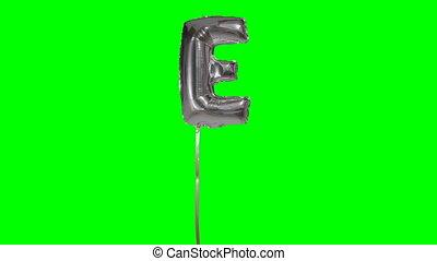 e, alphabet, balloon, argent, vert, lettre, flotter, hélium, écran