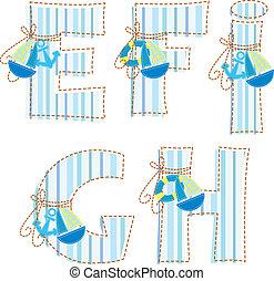 !, e, alphabet., h, patchwork, lettre g, f