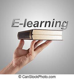 e-apprendre, main, mot, spectacles