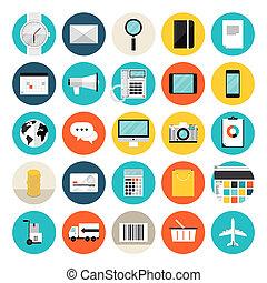 e-commerce, achats, plat, icônes