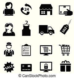 e-commerce, ensemble, achats, icône, ligne