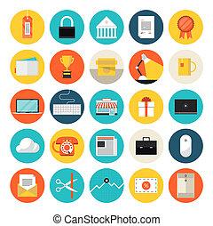 e-commerce, plat, marché, icônes