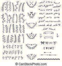 e, elements., vendange, main, floral, vecteur, conception, handsketched, dessiné