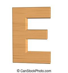 e, fond, isolé, bois, lettre, nouveau, blanc