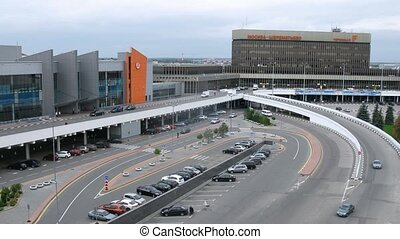 e, sheremetyevo, f, congé, terminal, aéroport, voitures, venir
