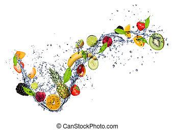 eau, éclaboussure, mélange, fruit, fond, isolé, blanc