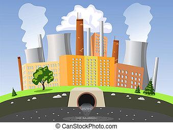 eau, air, usine, pollution