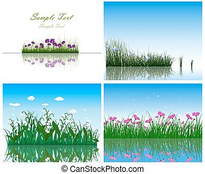 eau, arrière-plans, 4, herbe