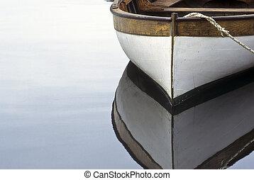 eau, bateau rames, reflet