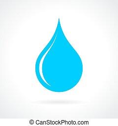 eau bleue, goutte, icône