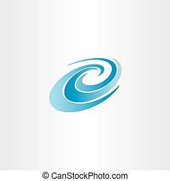 eau bleue, vague, vecteur, élément