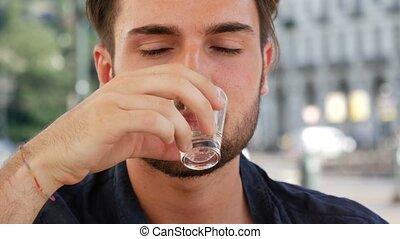 eau, boire, beau, jeune homme