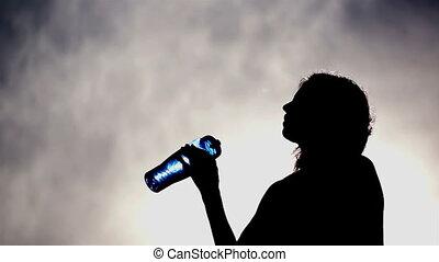 eau, boire, femme, silhouette