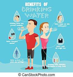 eau, boire, infographic, avantages