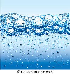 eau, bulles, étincelant, mousse