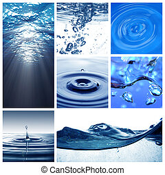 eau, collage, themed