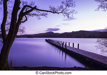 eau, coniston, jetée, district, lac