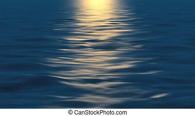 eau, coucher soleil
