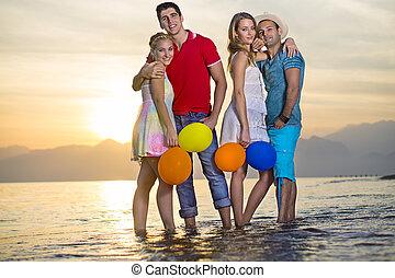eau, couples, paires, mer, doux