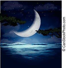 eau, croissant, reflet, lune
