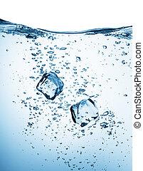 eau, cubes, glace