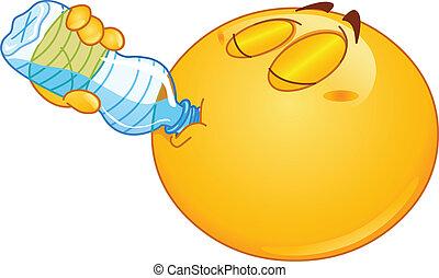 eau, emoticon, boire