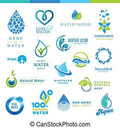 eau, ensemble, icônes