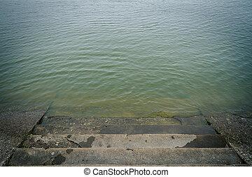 eau, escalier