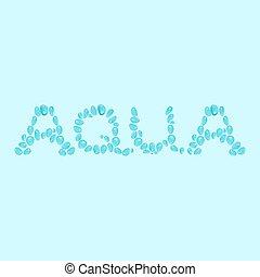 eau, fait, mot, nom, marque, eau, logotype, gouttes, vecteur, ou