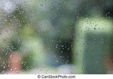 eau, fenêtre, gouttes