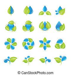 eau, feuilles, icône, ensemble